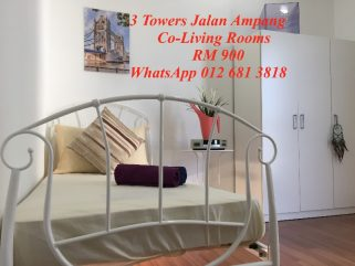 room for rent, medium room, jalan ampang, NEW Co-Living Rooms in 3 Towers Jalan Ampang KLCC