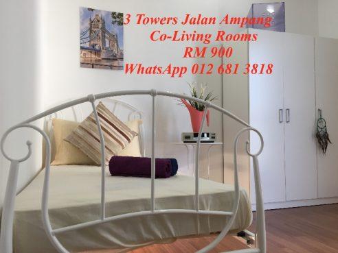 room for rent, medium room, jalan ampang, NEW Co-Living Rooms in 3 Towers Jalan Ampang KLCC