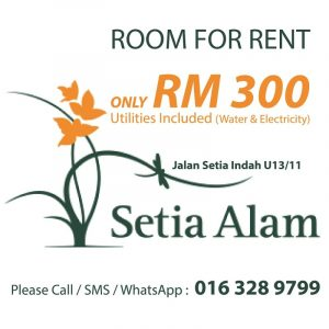 room for rent, medium room, setia alam, Room for Rent in Setia Alam @ Shah Alam. Only RM 300, Water & Electricity Included. 24 hours Guarded Area.