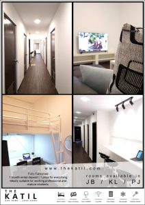 room for rent, single room, permas jaya, Fully Furnished, Aircond & WiFi Permas Jaya Coliving Hostel Rooms for Rent from RM800 per month close to Aeon Jusco Permas Jaya!