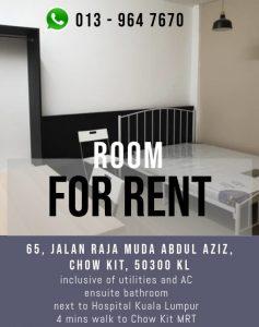 room for rent, medium room, jalan raja muda abdul aziz, HKL Fully Furnished Double Room with Ensuite Bathroom, 4mins to MRT