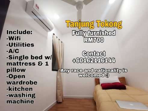 room for rent, medium room, tanjung tokong, Brand New Middle Room - any race and nationality is welcomed